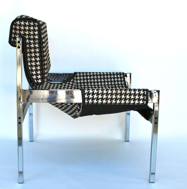 Houndstooth Sling Lounge Chair By Jerry Johnson At 1stdibs