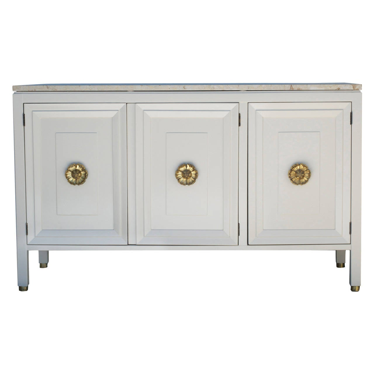 Bone white american of martinsville cabinet with marble for Bone white kitchen cabinets