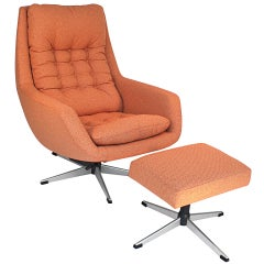 Swivel Lounge Chair and Ottoman by Selig