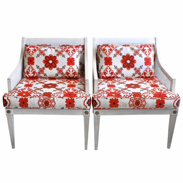 Pair Of Painted Cane Chairs At 1stdibs
