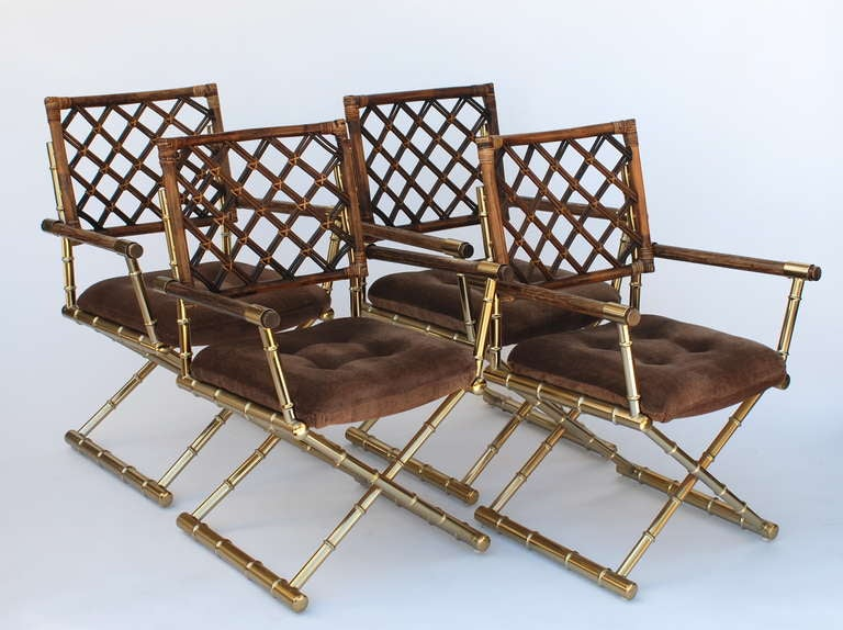 Set of four faux bamboo brass and rattan directors chairs at 1stdibs