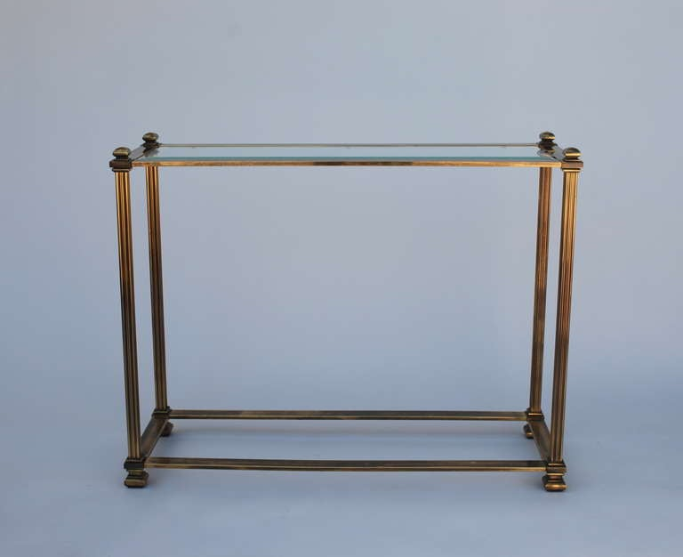 Mastercraft antique brass entry or sofa table at 1stdibs for Sofa table glass replacement