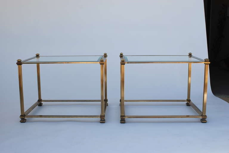 Pair of Mastercraft Antique Brass End Tables image 2