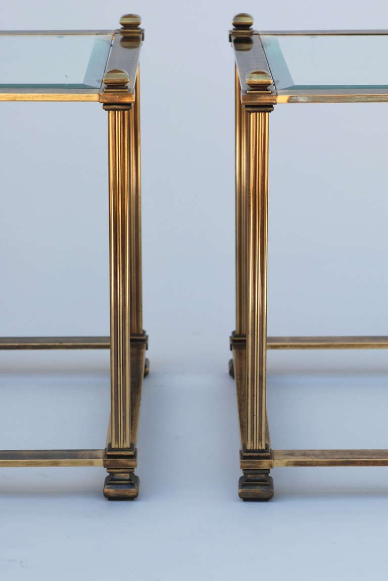 Pair of Mastercraft Antique Brass End Tables image 3