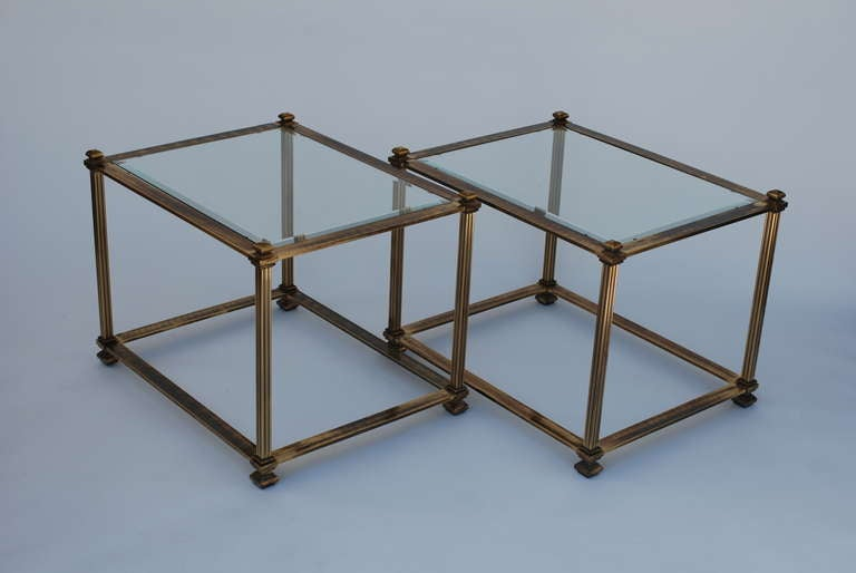 Pair of Mastercraft Antique Brass End Tables 7