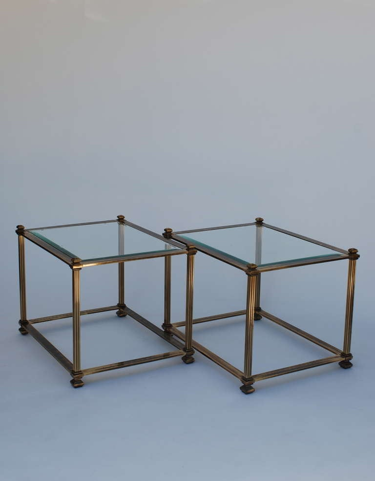 Pair of Mastercraft Antique Brass End Tables 8