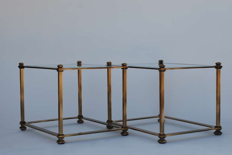 Pair of Mastercraft Antique Brass End Tables 9
