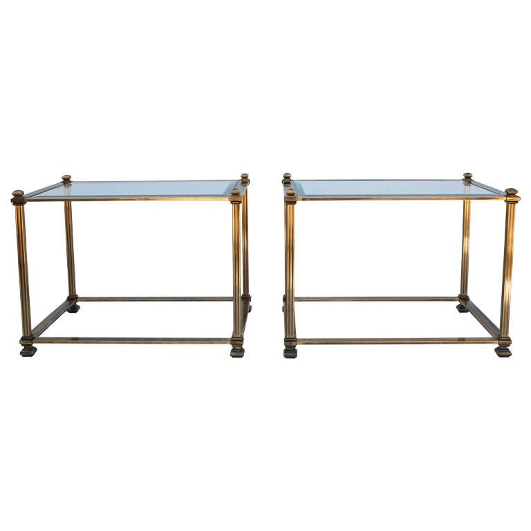 Pair of Mastercraft Antique Brass End Tables 1
