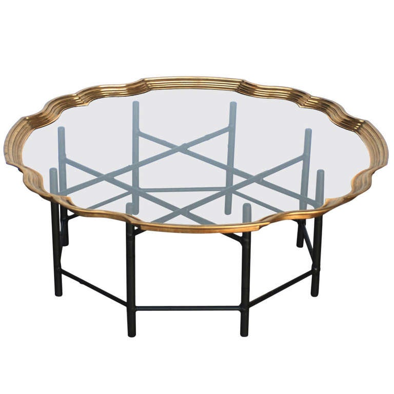 Brass and glass faux bamboo baker coffee table at 1stdibs Baker coffee table