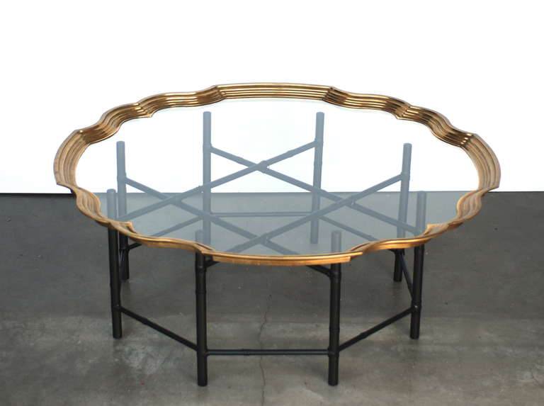 Brass And Glass Faux Bamboo Baker Coffee Table At 1stdibs