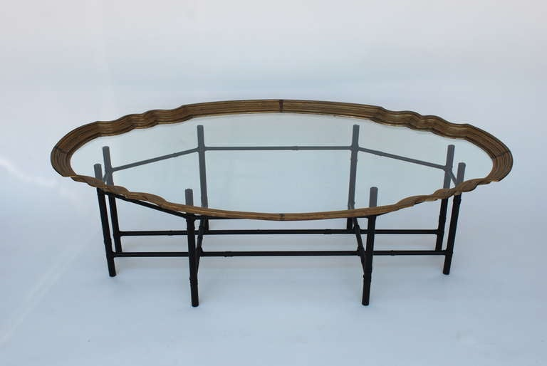 faux bamboo brass tray top coffee table at 1stdibs
