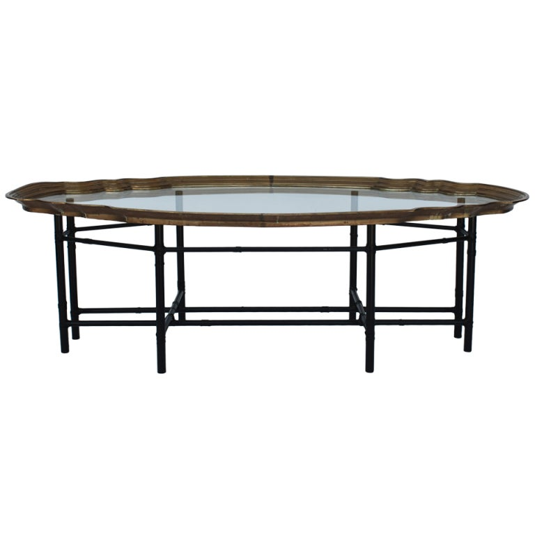 Kartell Tray Coffee Table: Faux Bamboo Brass Tray Top Coffee Table At 1stdibs