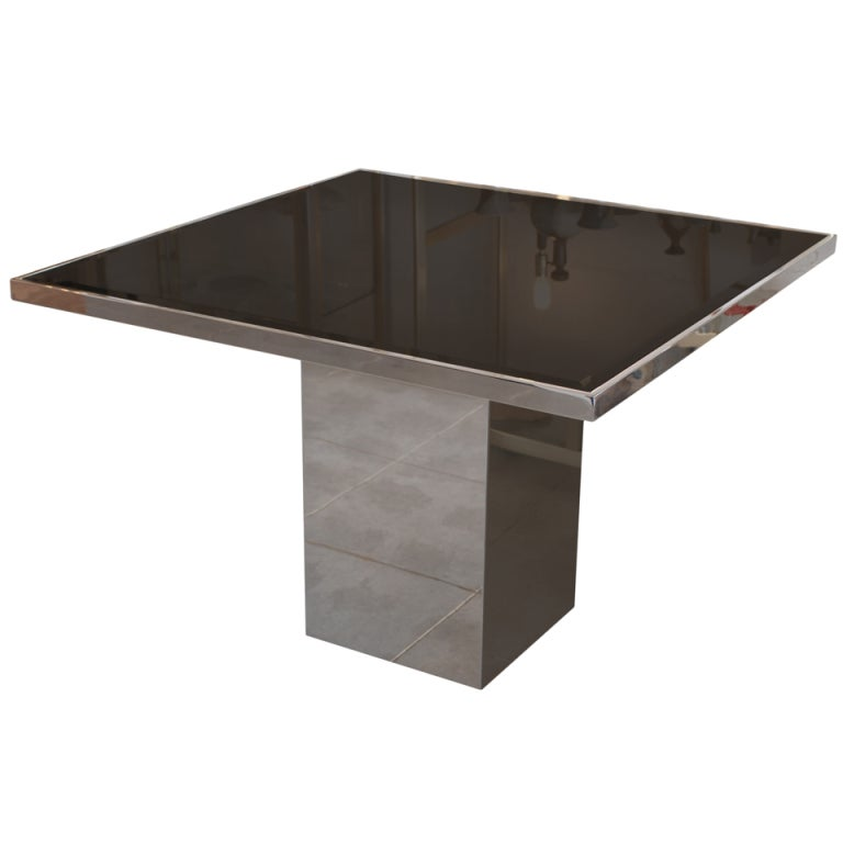 Chrome smoked glass square dining table in the style of for Square glass dining table