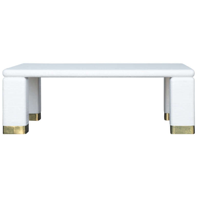 Harrison van horn brass and white raffia coffee table at for Raffia coffee table
