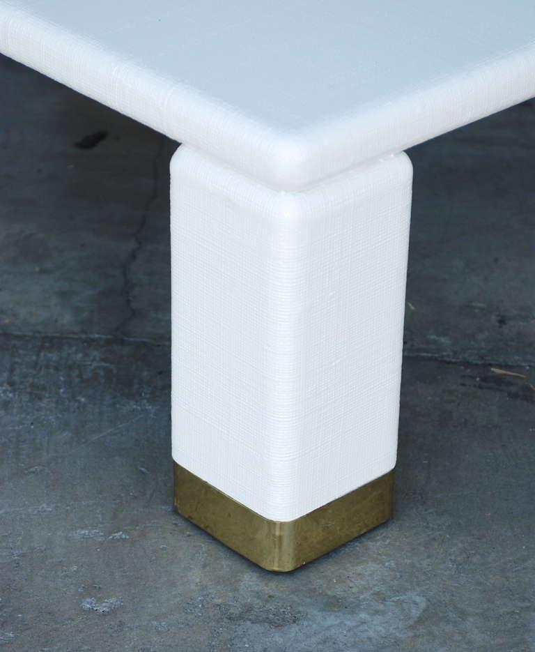 Harrison van horn brass and white raffia coffee table for for Raffia coffee table