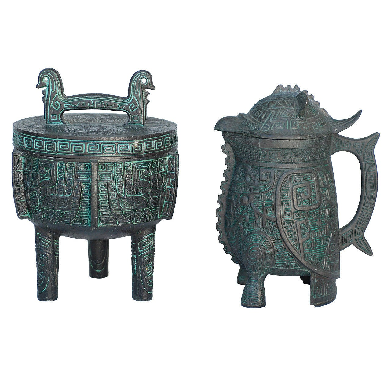 Cast Copper Ice Bucket And Pitcher Attributed To James