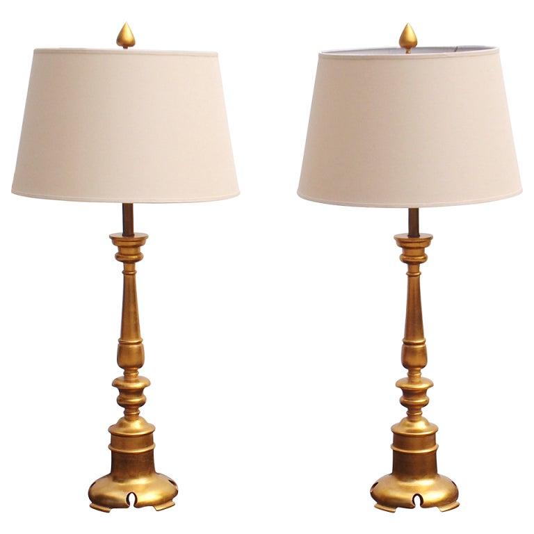 pair of elegant turned wood gold leaf table lamps at 1stdibs. Black Bedroom Furniture Sets. Home Design Ideas