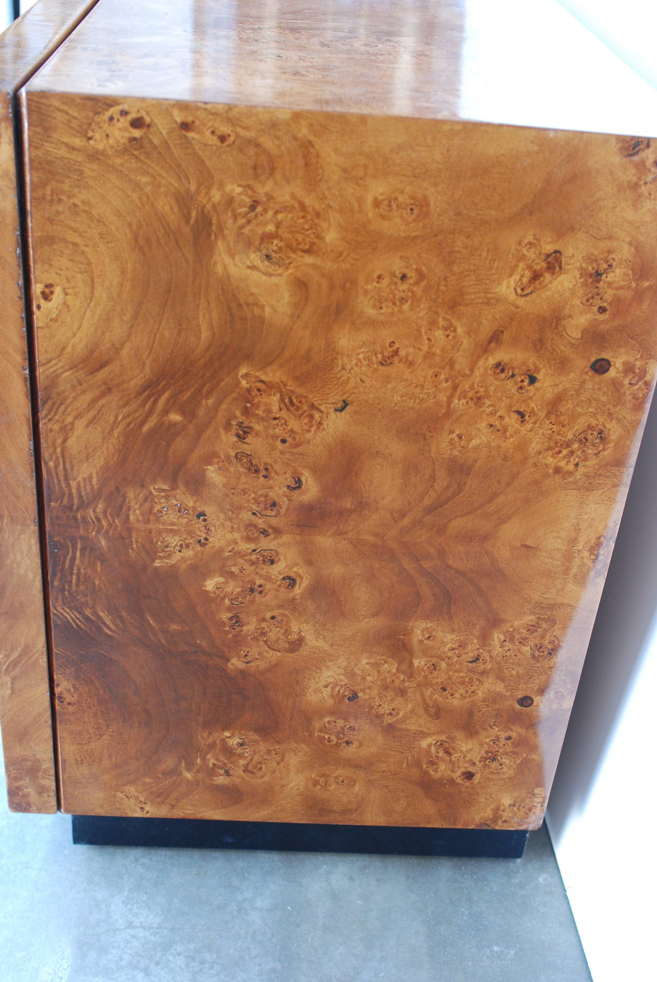 Great Milo Baughman Attributed Burl Wood Cabinet In Excellent Condition For Sale  In Palm Springs, CA