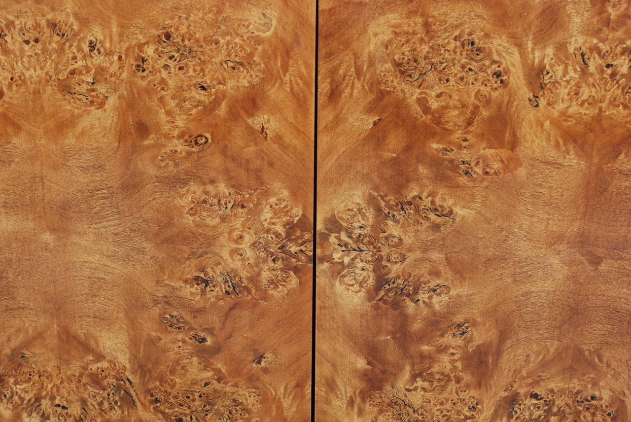 Milo Baughman Attributed Burl Wood Cabinet For Sale 1