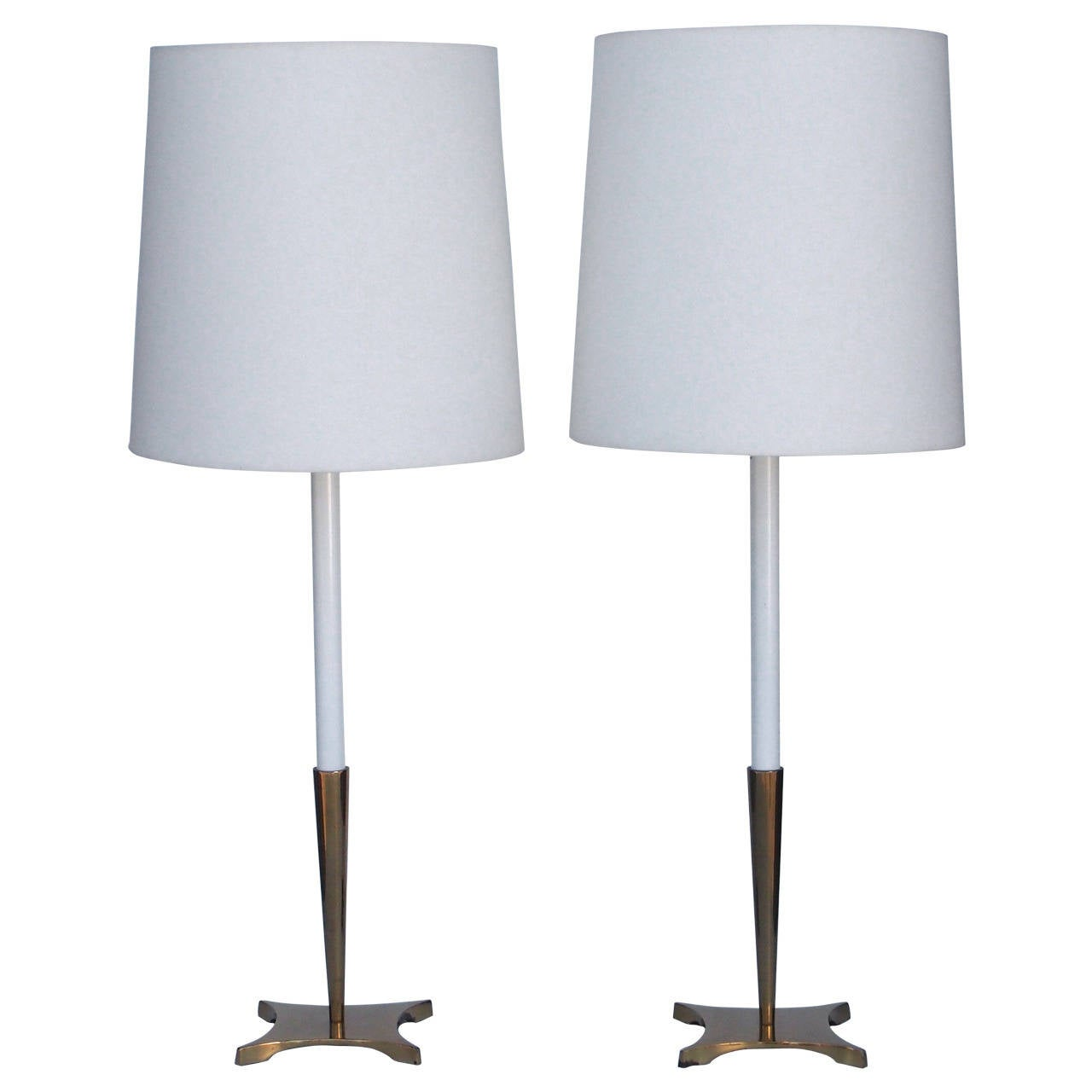 Pair Of Tall Brass Modernist Stiffel Table Lamps At 1stdibs