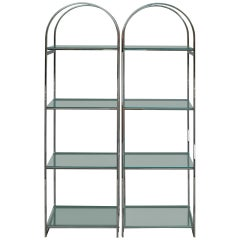 Pair of Chrome Flat Bar Etageres