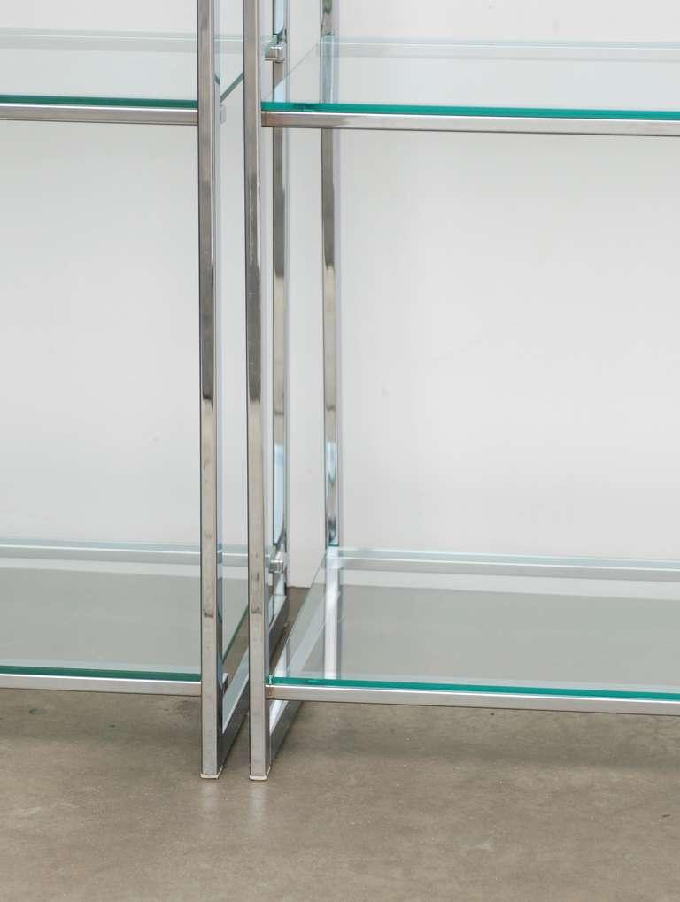 pair of chrome flat bar etageres for sale at 1stdibs. Black Bedroom Furniture Sets. Home Design Ideas