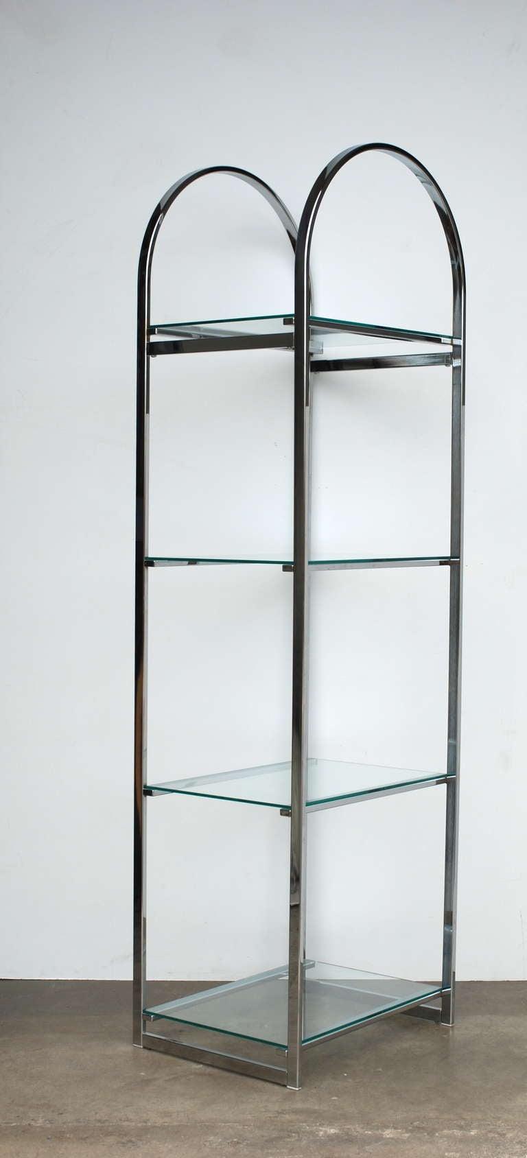 pair of chrome flat bar etageres at 1stdibs. Black Bedroom Furniture Sets. Home Design Ideas