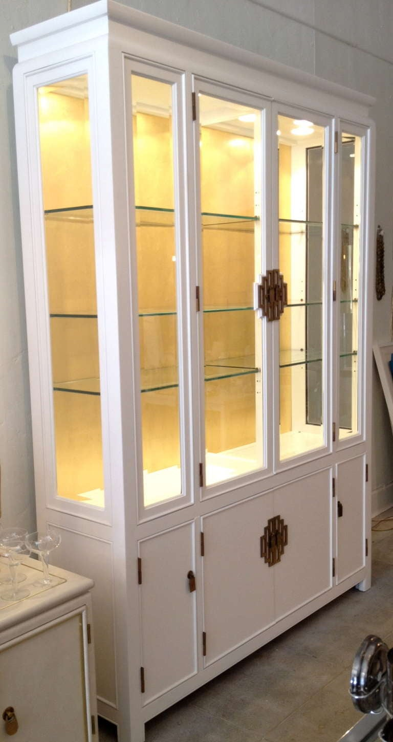 lighted midcentury white and gold leaf china cabinet by century 3