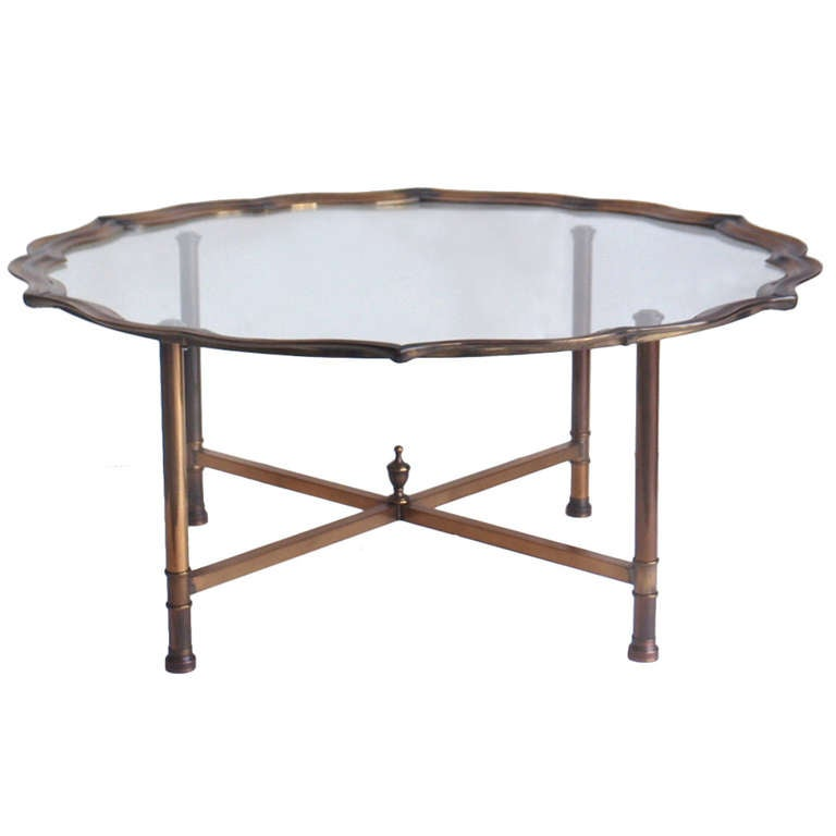 Vintage Baker Style Brass And Glass Coffee Table