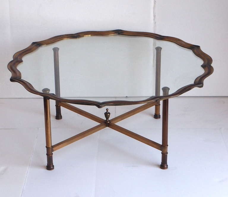 Vintage Baker Style Brass And Glass Coffee Table At 1stdibs