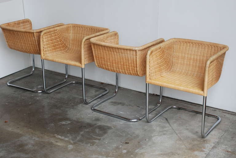 Set Of Four Harvey Probber Chrome And Wicker Arm Chairs At