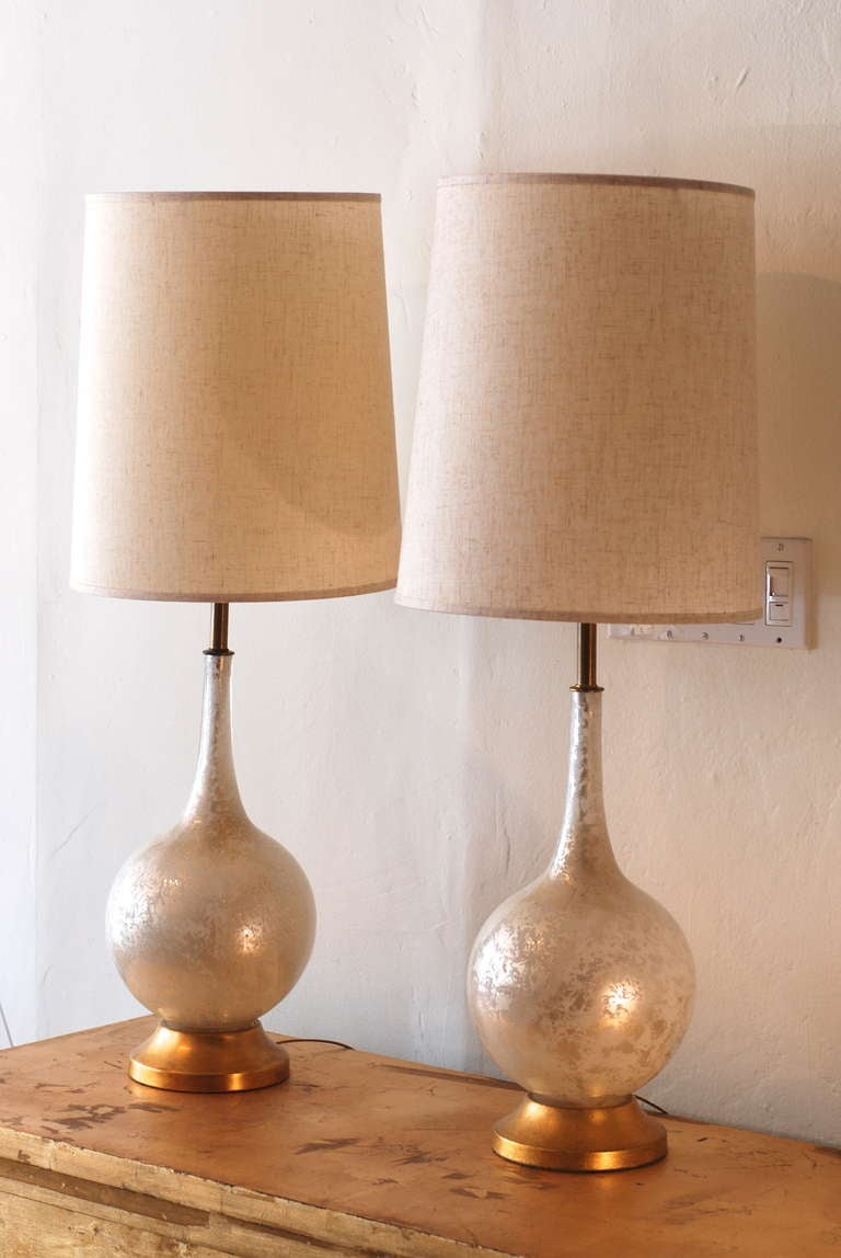 Pair of white and gold crackle glass table lamps at 1stdibs pair of white and gold crackle glass table lamps 2 geotapseo Gallery