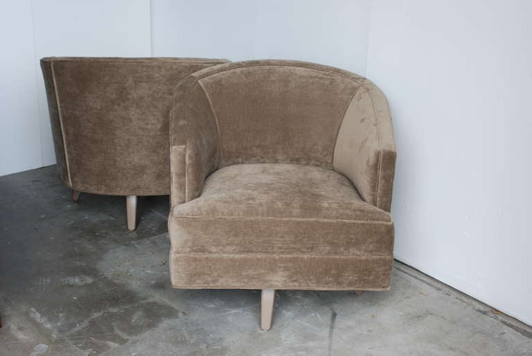 Pair of Swivel Lounge Chairs attributed to Steve Chase at