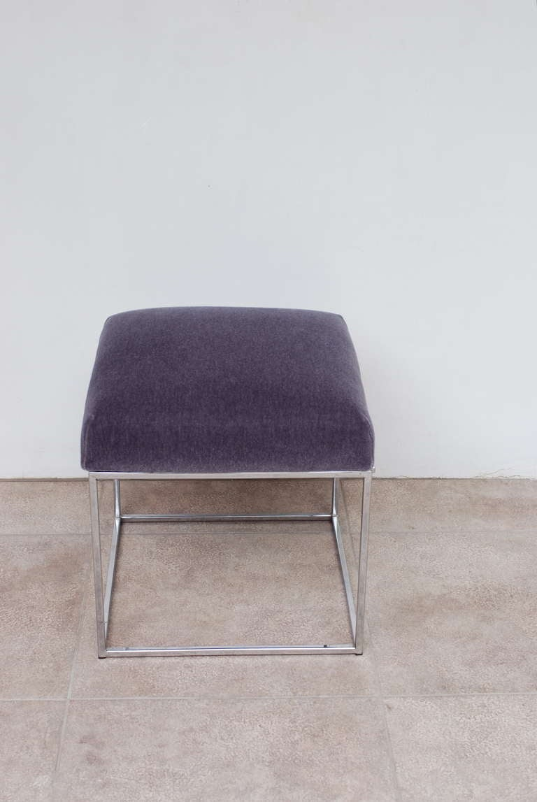 Swell Chrome Vanity Stool Or Ottoman In Lavender Mohair At 1Stdibs Gmtry Best Dining Table And Chair Ideas Images Gmtryco