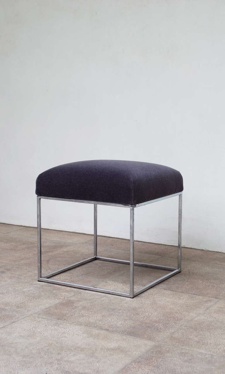 Chrome Vanity Stool Or Ottoman In Lavender Mohair At 1stdibs