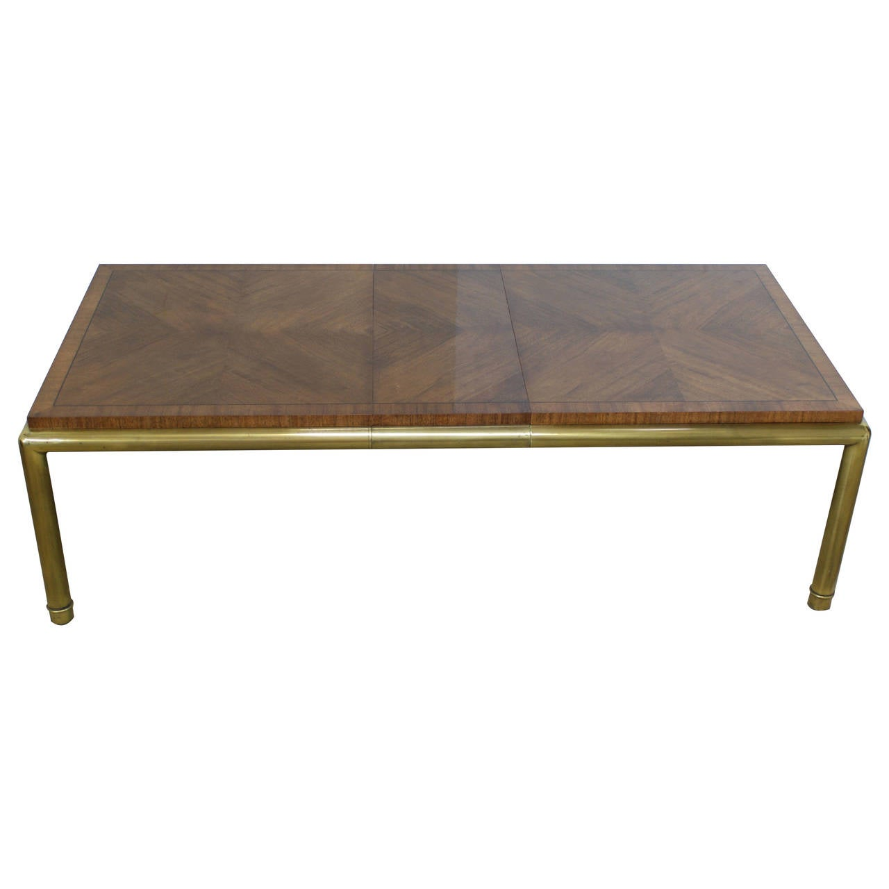 mastercraft brass and walnut dining table with leaf by bernhard rohne 1