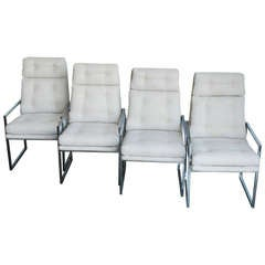 Set of Four 1970s Chrome Highback Dining Chairs