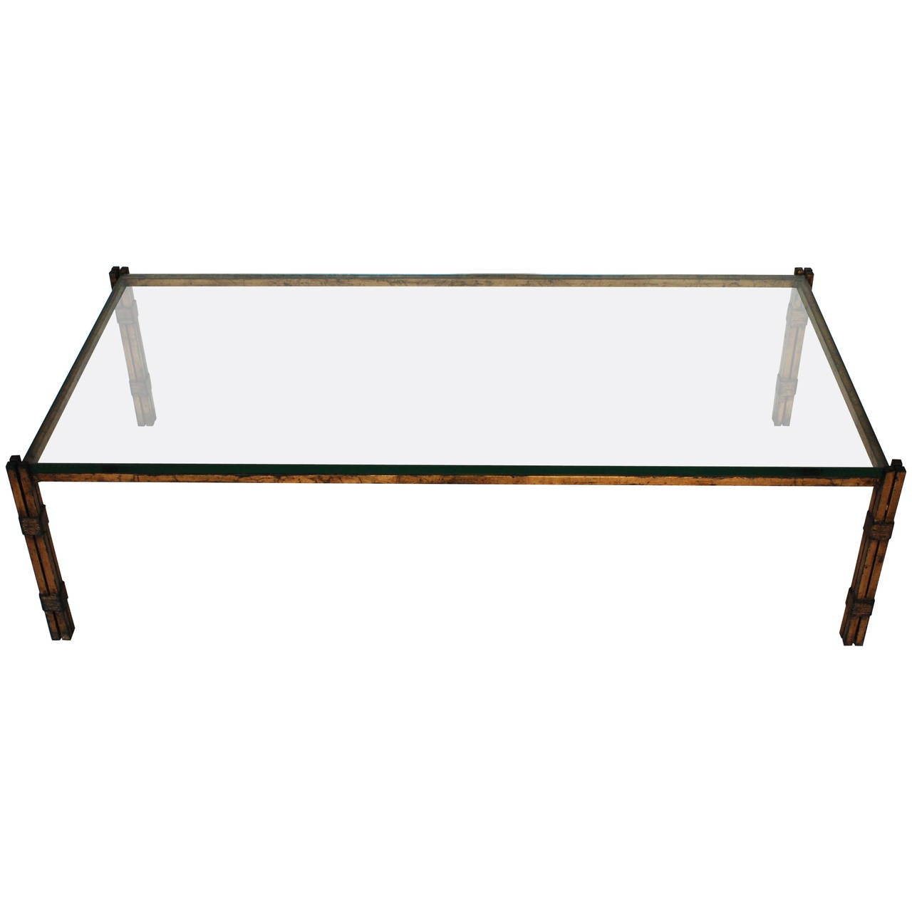 Mexican Modern Gilt Rectangular Coffee Table Attributed to Arturo Pani