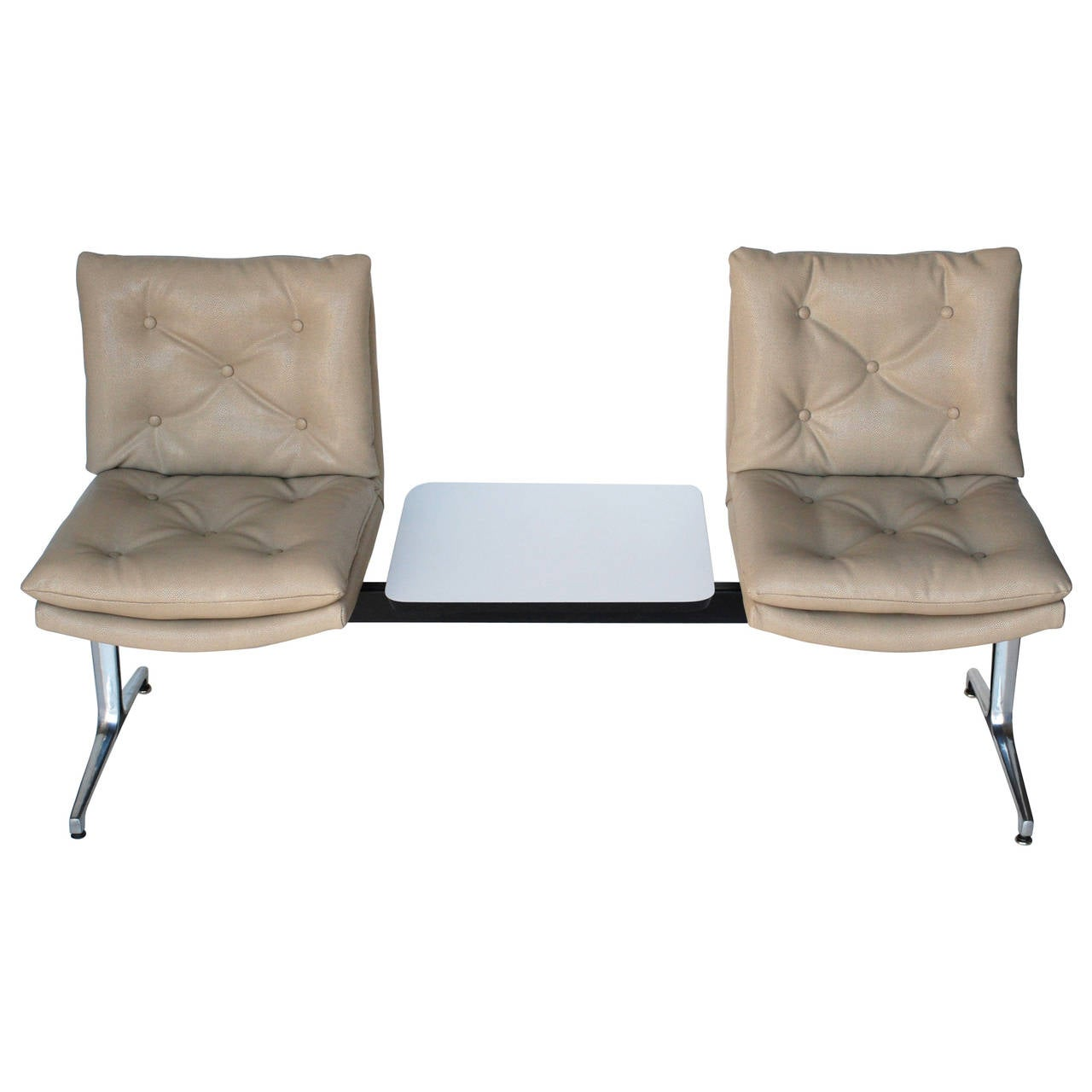 Two Seater Herman Miller Style Airport Bench With Table At
