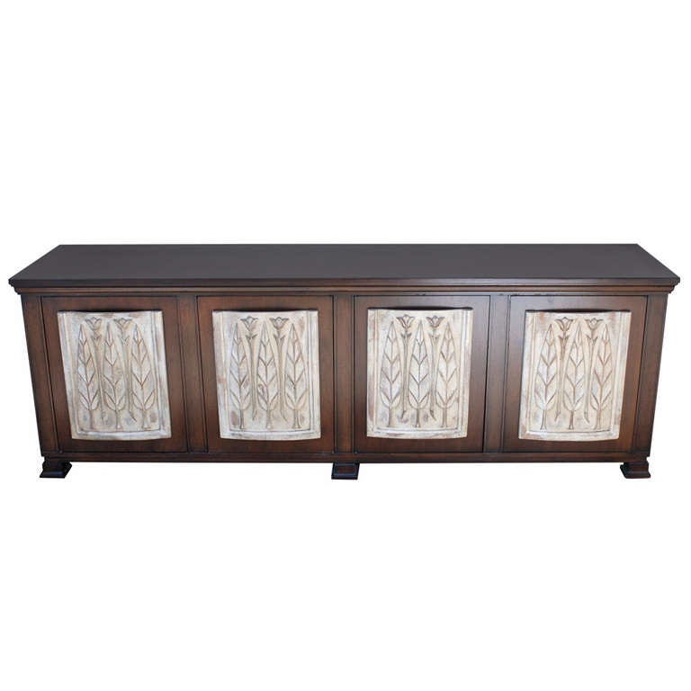 Walnut Credenza with Relief Panels