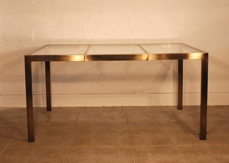 Milo Baughman Antique Brass Extension Dining Table At 1stdibs