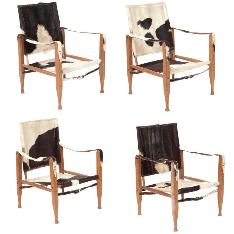 Deer Skin And Beech Safari Chairs At 1stdibs