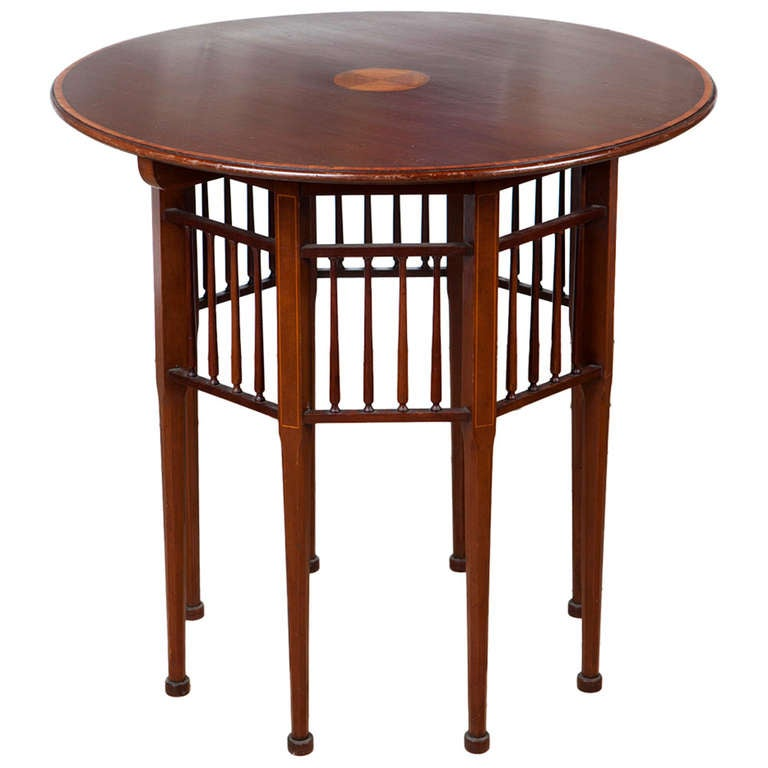 Inlaid Mahogany Centre Table in the Liberty Style at 1stdibs : 1096772l from 1stdibs.com size 768 x 768 jpeg 44kB