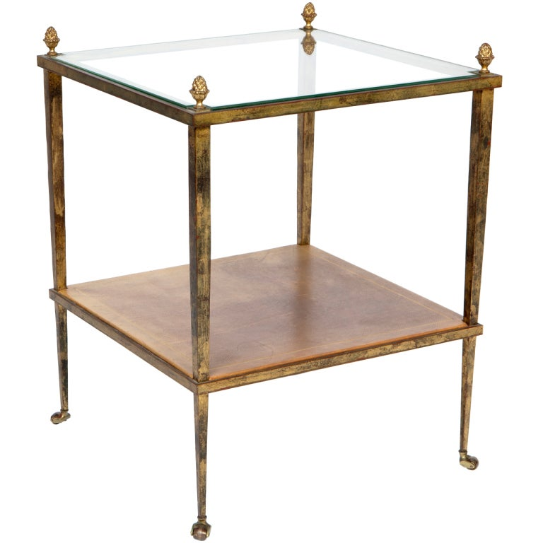 Gilded Metal, Leather and Glass Side Table at 1stdibs
