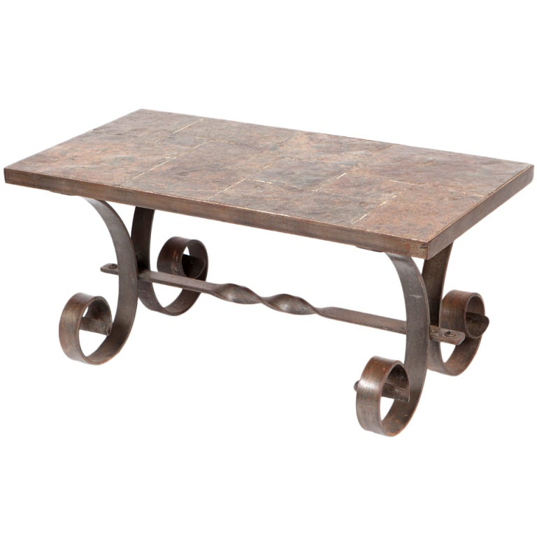 Wrought Iron And Slate Coffee Table At 1stdibs