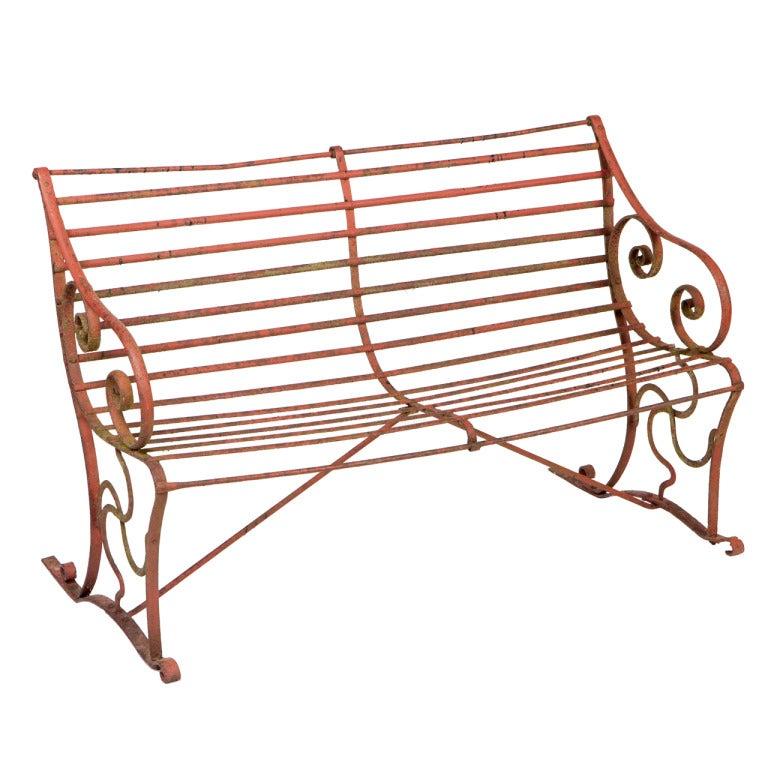 Regency Wrought Iron Garden Bench At 1stdibs