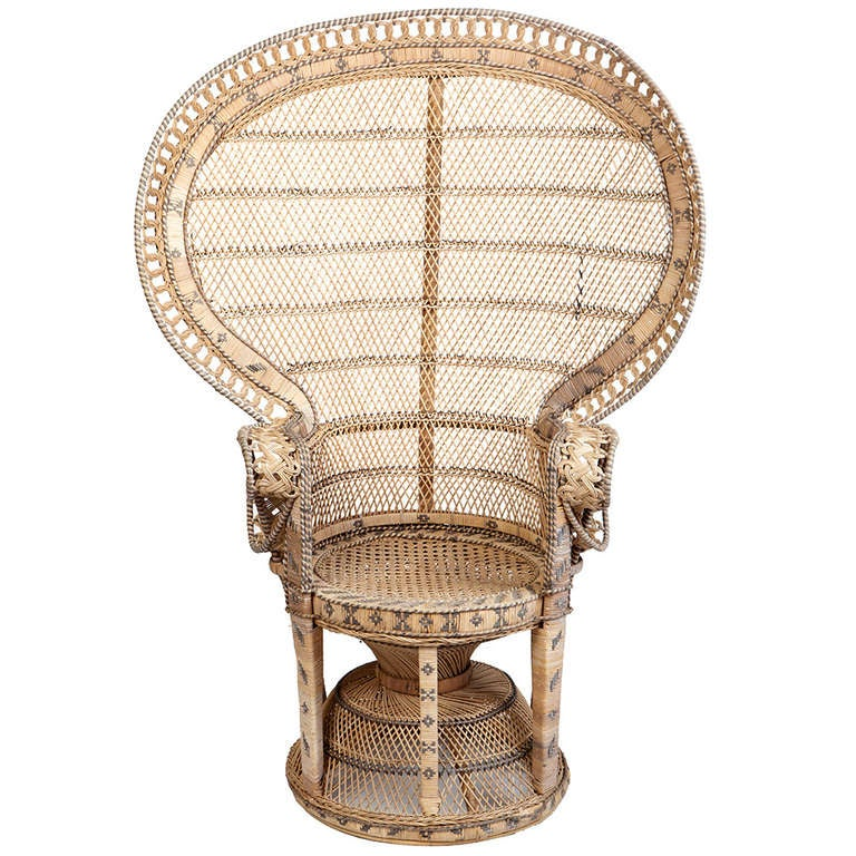 Wicker Throne Chair At 1stdibs