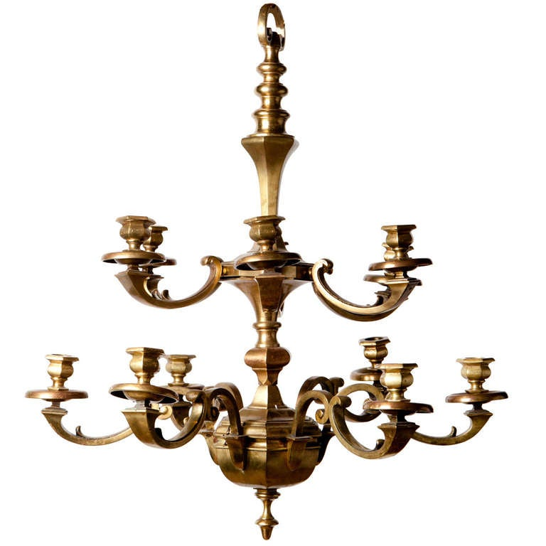 12 Branch Edwardian Brass Chandelier at 1stdibs