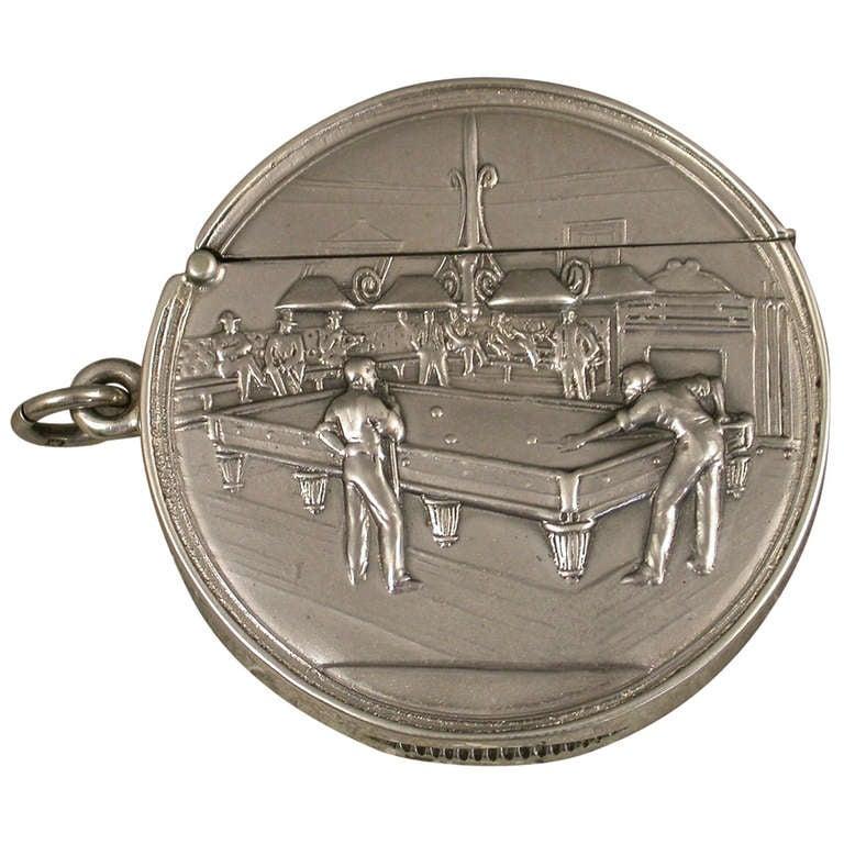 Rare Edwardian Documentary Silver Billiards Vesta Case For Sale