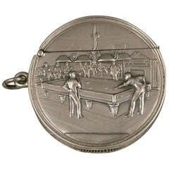 Rare Edwardian Documentary Silver Billiards Vesta Case